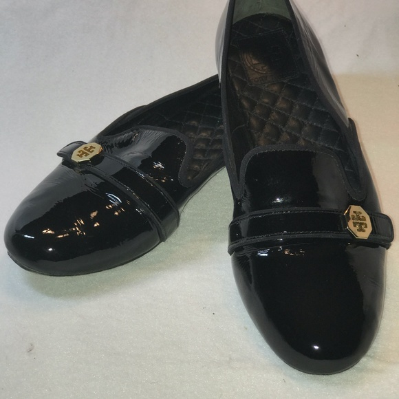 Tory Burch, Black Paton Leather Flats, Size 10